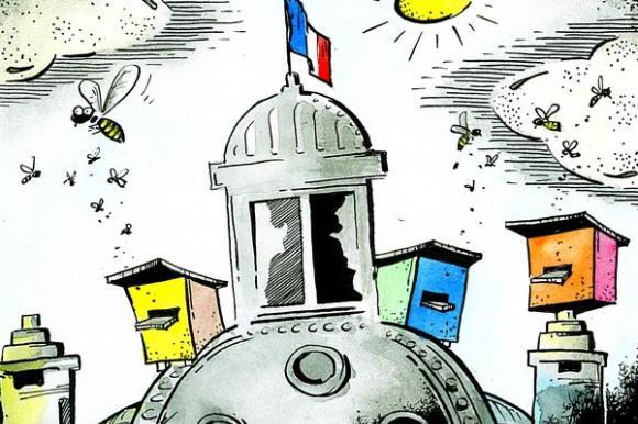 Prancūzijos nacionalinė asamblėja dūzgia tikrąja šio žodžio prasme, mat ant parlamento stogo pastatyti aviliai. Rimanto Dovydėno pieš.