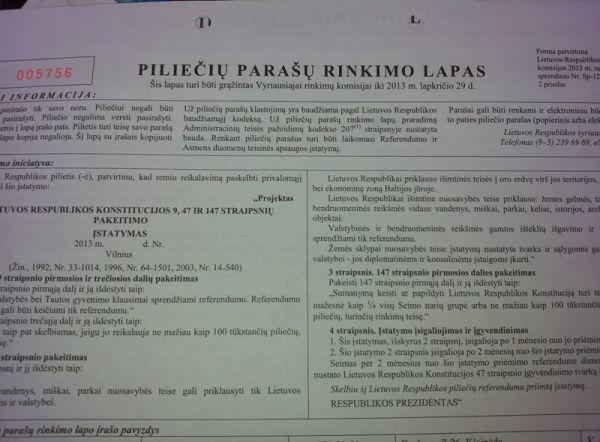 Piliečių parašų rinkimo lapas. Ekspertai.eu nuotr.